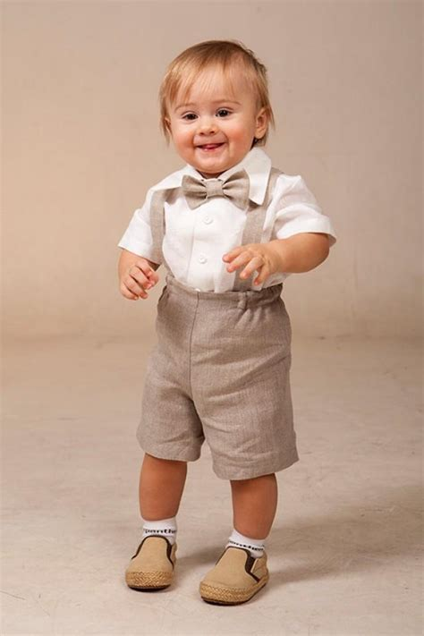 Baby Boy Linen Suit Ring Bearer Outfit SET Of 4 First Birthday Baptism Suspenders Kids Natural ...