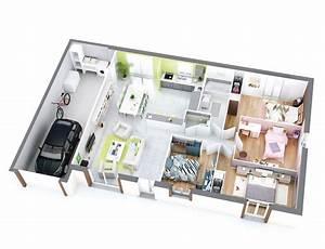 1000 idees sur le theme maison plain pied sur pinterest With wonderful construire sa maison 3d 5 plan maison 90m2 3d