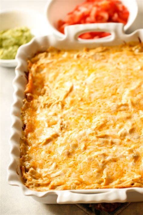 Once fully layered, the casserole is ready to bake! Chicken Enchilada Casserole   Recipe in 2020   Enchilada ...