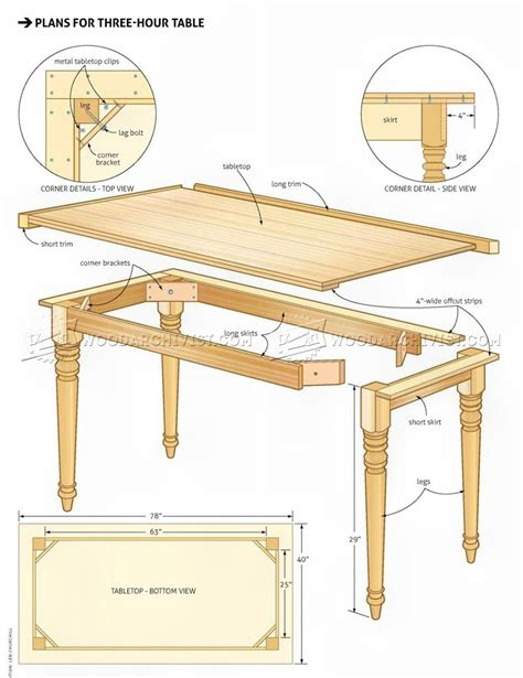 easy table plans woodarchivist