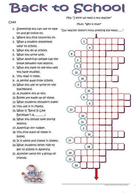 school crossword worksheet  esl printable