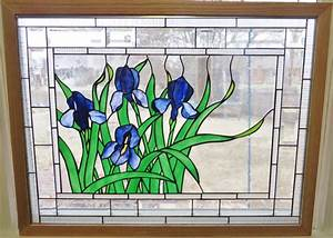 stained glass window panel glass art purple blue iris flowers With stained glass window designs home