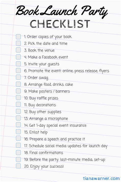 complete book launch party checklist tiana warner