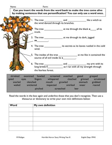 Personification Worksheet For Weak Pupil By Diamondraindrops  Teaching Resources Tes