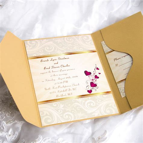 wedding invitations with hearts elegant gold damask and hearts pocket wedding