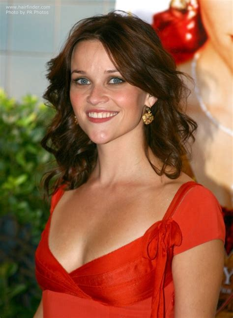 brunette reese witherspoon  layered  rolled hair
