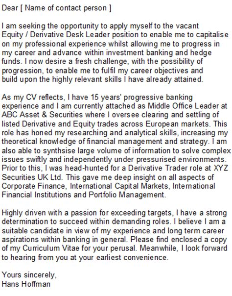 investment banking cover letter sle