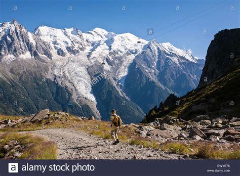 hiking above chamonix mont blanc valley mont blanc mountain stock photo royalty free