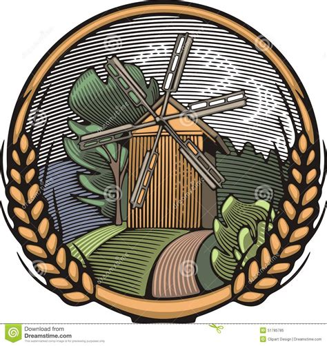 vector windmill illustration  woodcut style organic