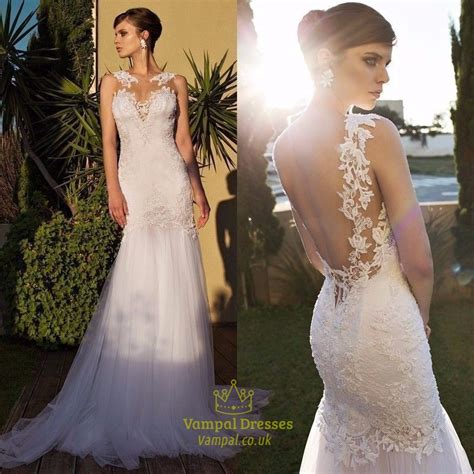 Ivory Sheer Lace Embellished Open Back Tulle Mermaid