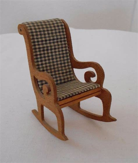 vintage miniature dollhouse furniture wood rocking chair