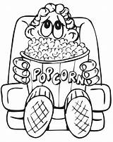 Coloring Popcorn Movie Pages Eating Drawing Cinema Avengers Printable Boy Movies Theater Tickets Sheet Theatre Colouring Sheets Kid Clipart Popular sketch template