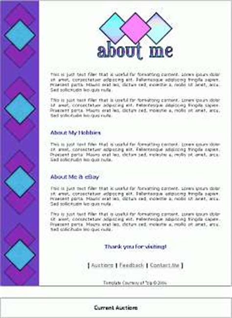 About Me Template Ebay About Me Page Templates