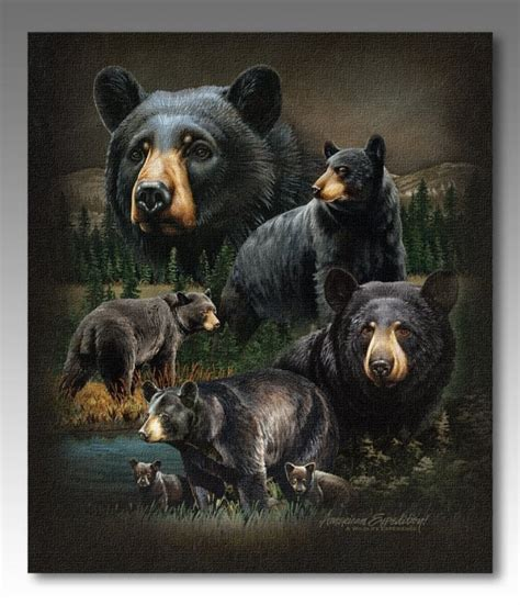 american expedition black bear collage wall canvas