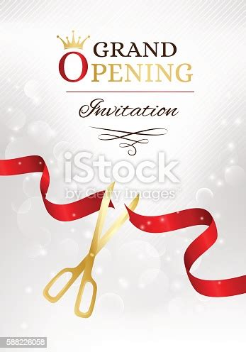 grand opening invitation card  cut red ribbon  gold