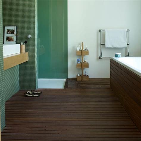 slatted teak modern bathroom flooring ideas