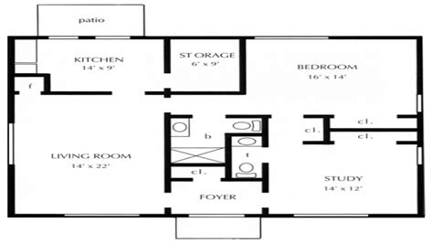 Onebedroom Open Floor Plans 1 Bedroom Cottage Floor Plans