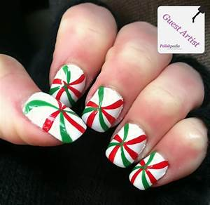Green and red peppermint nails polishpedia nail art