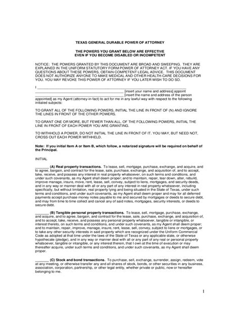 texas power  attorney form  templates   word