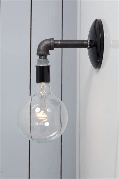 black wall sconces lighting industrial black pipe wall sconce light bare bulb l