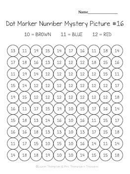 kindergarten numbers   dot marker mystery picture
