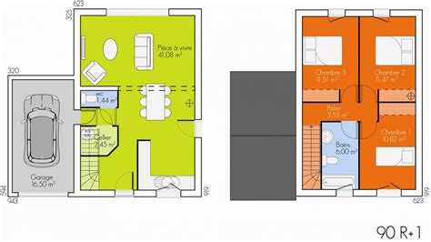 plan maison 90m2 3 chambres plan maison etage 90m2
