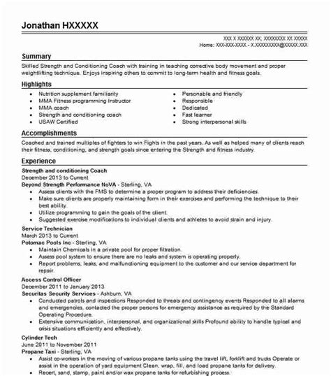 strength and conditioning coach resume sle livecareer