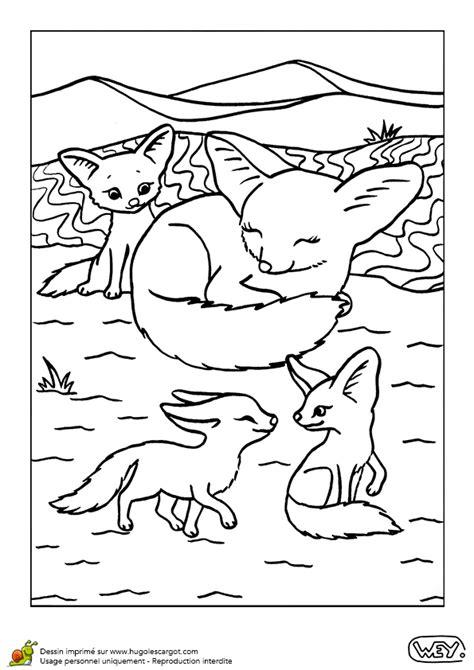 jeux de cuisine de poisson coloriage la maman fennec et ses bébés hugolescargot com