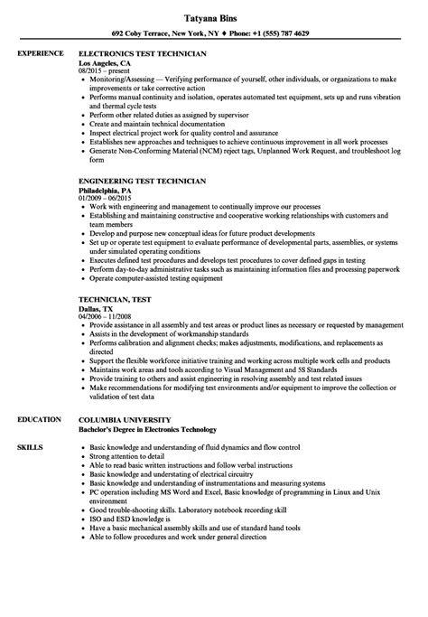 Employment Resume Sles by Electronics Test Technician Best Electronic 2018
