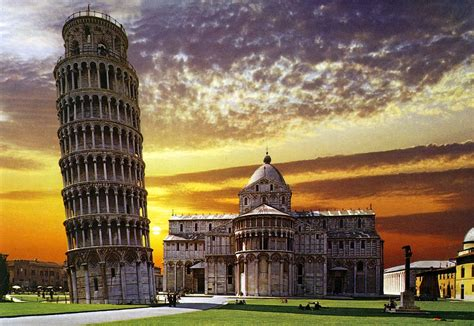 sunset   leaning tower  pisa italy postcard