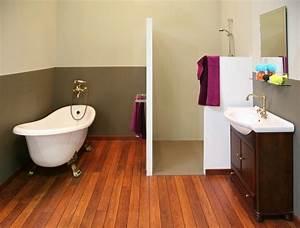 conseils deco salle de bain parquet pont de bateau With parquet pont bateau salle de bain