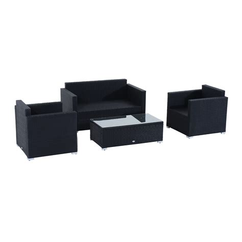 outdoor wicker sectional sofa set outsunny 4pc rattan sectional patio furniture sofa set