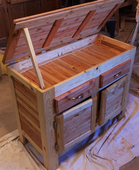 Pallet Wood Cabinet With Hidden Compartment, Lid, Drawers