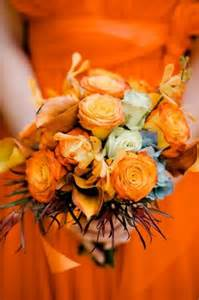Orange Fall Wedding Bridesmaids Bouquet