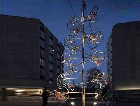 bicycle art christmas tree recycled tree made of bike wheels inhabitat green design innovation