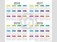 Calendario 2016 2017 2018 2019 Ilustración del Vector