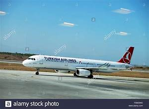 A Turkish Airlines plane standing on the tarmac viewed ...