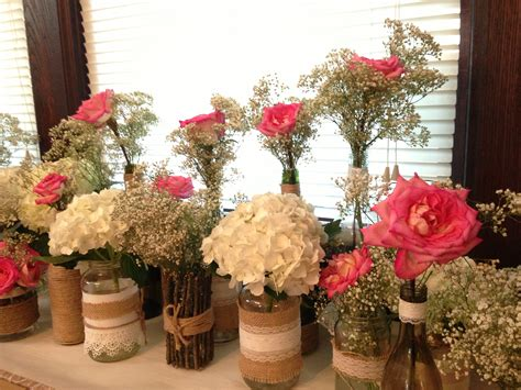 flower table decorations for weddings rustic centerpieces diy rustic engagement party diy
