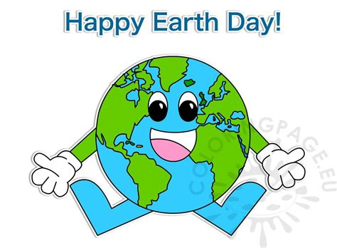 happy earth day april  clipart coloring page