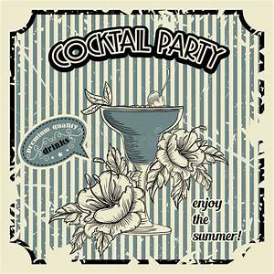 Vintage Cocktail Party Poster With Cocktail, Tropic ...