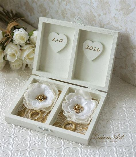 personalized ring bearer box gold wedding ring bearer