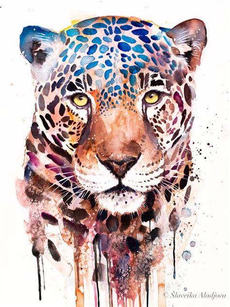 jaguar panther watercolor painting print  slaveika