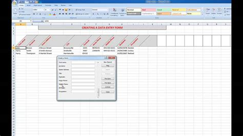how to create a data input form in excel your