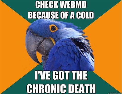 Webmd Memes - check webmd because of a cold i ve got the chronic death paranoid parrot quickmeme