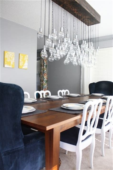 diy multi light bulb dining room chandelier