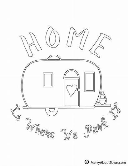 Camper Retro Printables Campers Coloring Pages Camping
