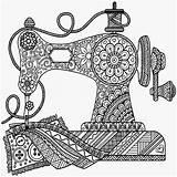 Sewing Coloring Machine Antique Drawing Mandala Printable Sew Drawings Zentangle Getdrawings Monroe Creations Getcolorings Machi Cut Outdoors Doodle Sketches sketch template
