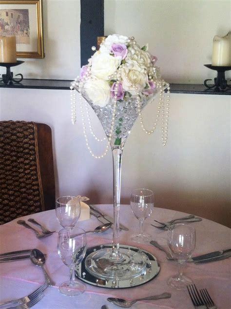 Beautiful Floral Martini Glass Centerpiece Centros