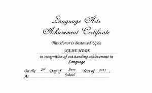 Language Arts Achievement Certificate Free Templates Clip