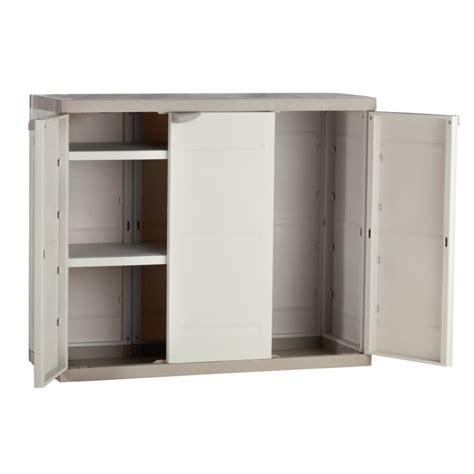 armoire basse de bureau armoire de rangement plastiken 3 portes basse